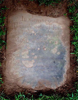 Photograph of Hannah Wright's tombstone, Colonial Cemetery, Westfield, Union County, New Jersey